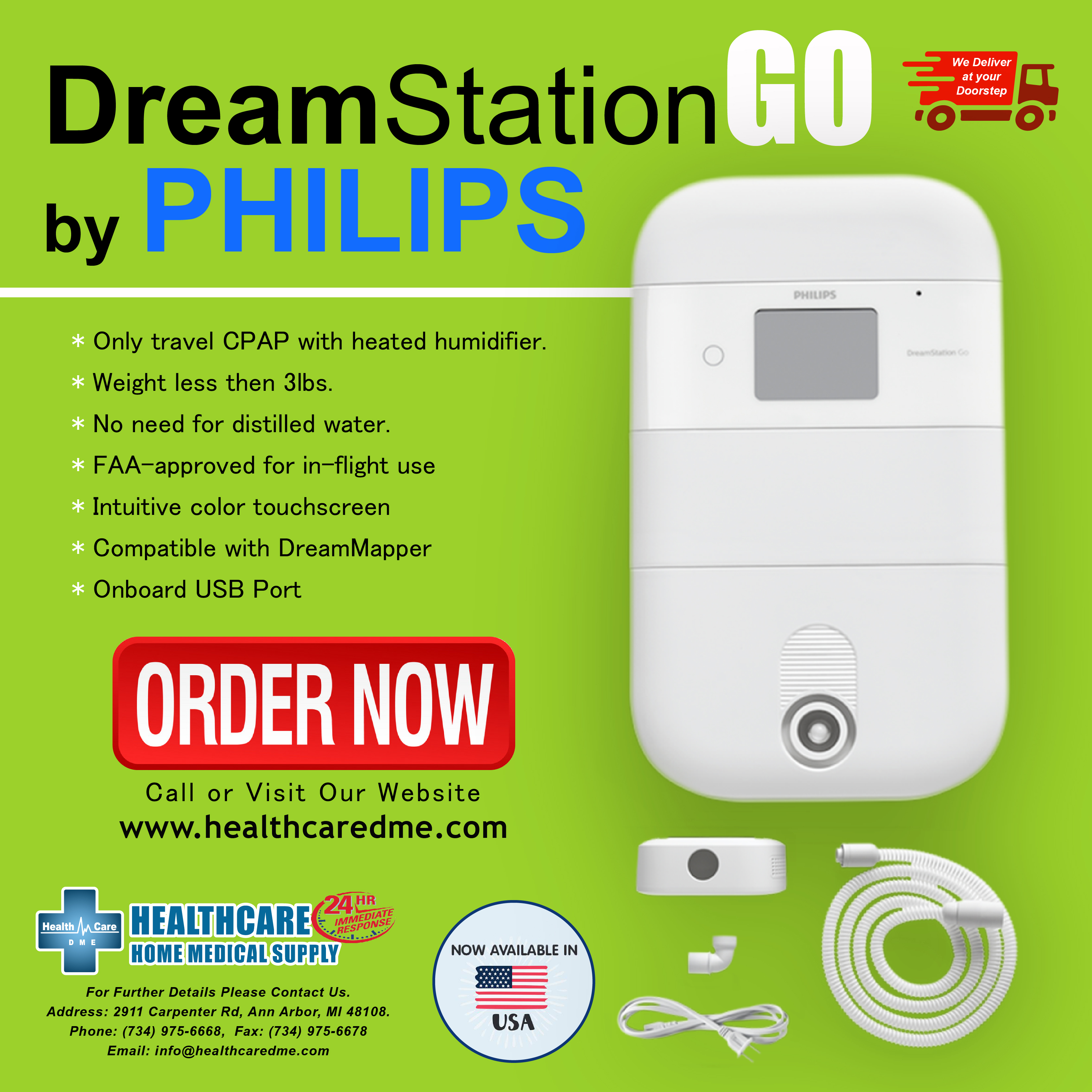 Philips Respironics DreamStation Go CPAP w/Heated Humidifier Michigan | USA