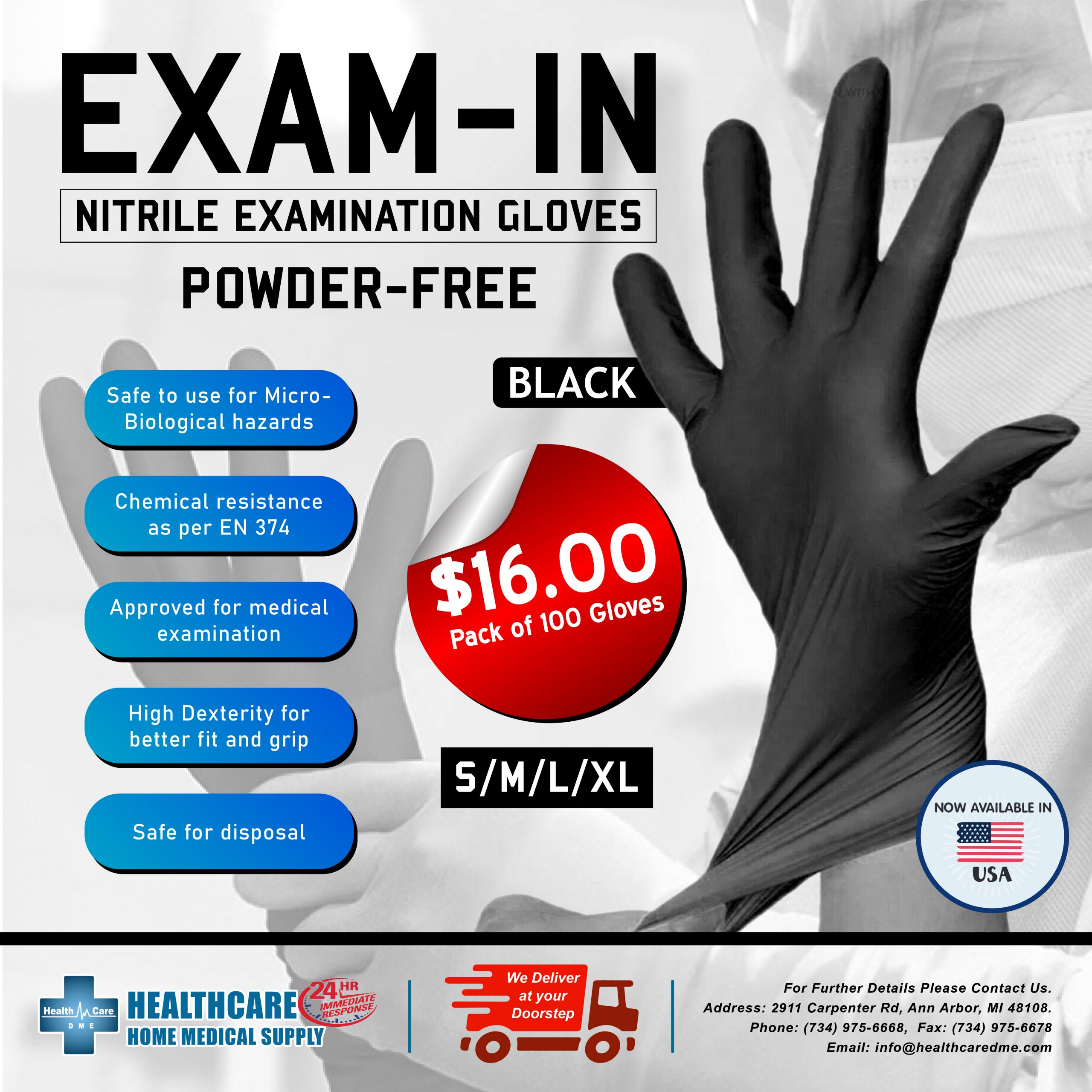 Nitrile Exam Gloves Powder-Free | Michigan USA