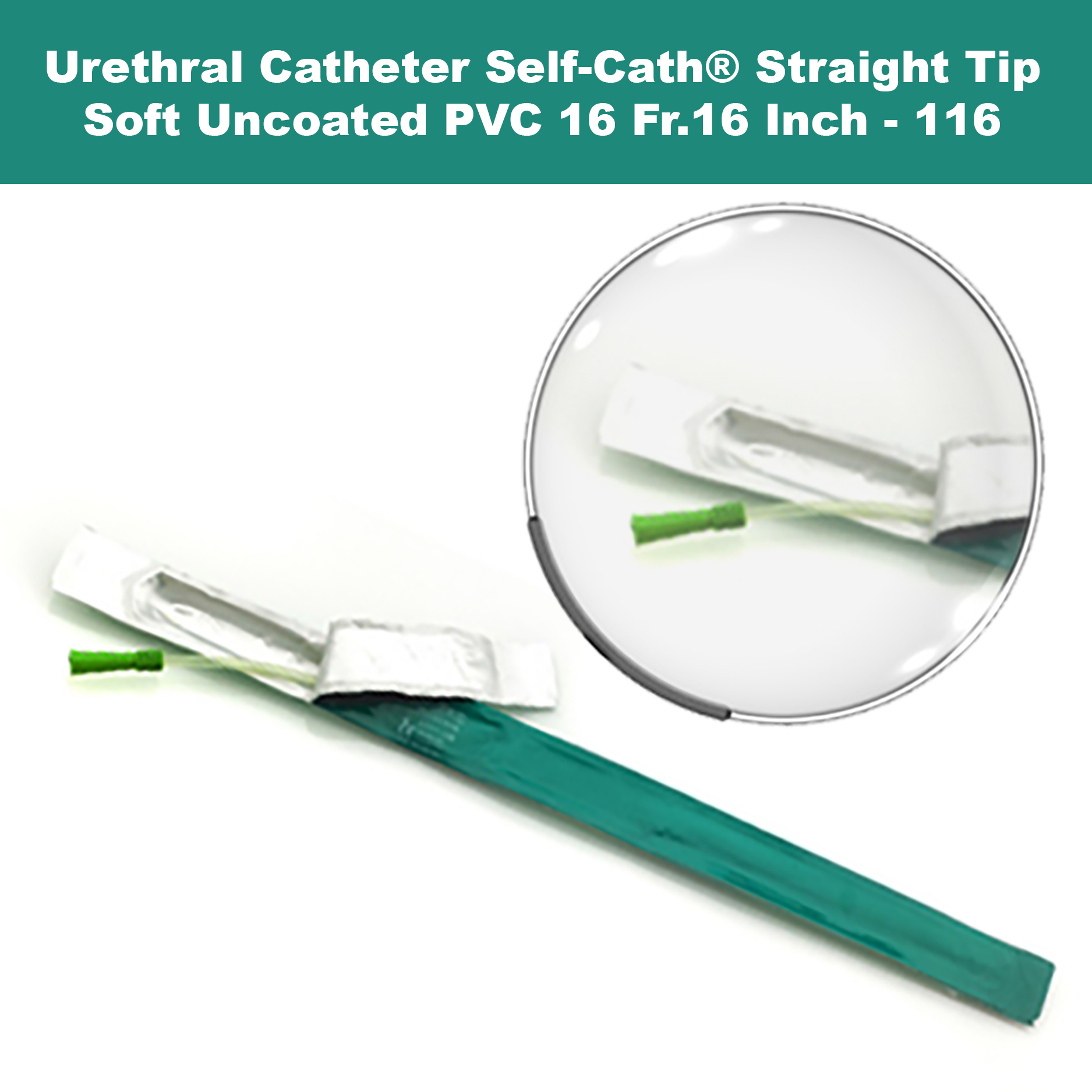 Urethral Catheter Self-Cath® Straight Tip Uncoated PVC 16Fr. 16 Inch-116