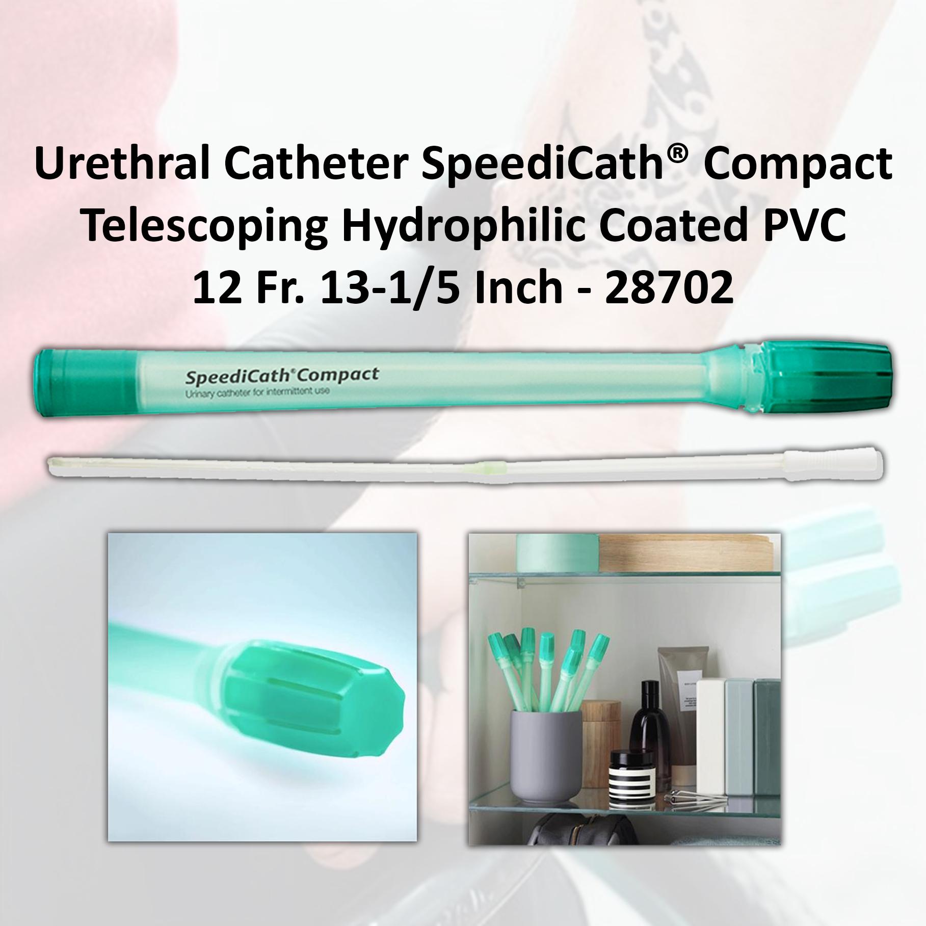 Urethral Catheter SpeediCath® Compact Telescoping Hydrophilic Coated PVC 12 Fr. 13-1/5 Inch - 28702