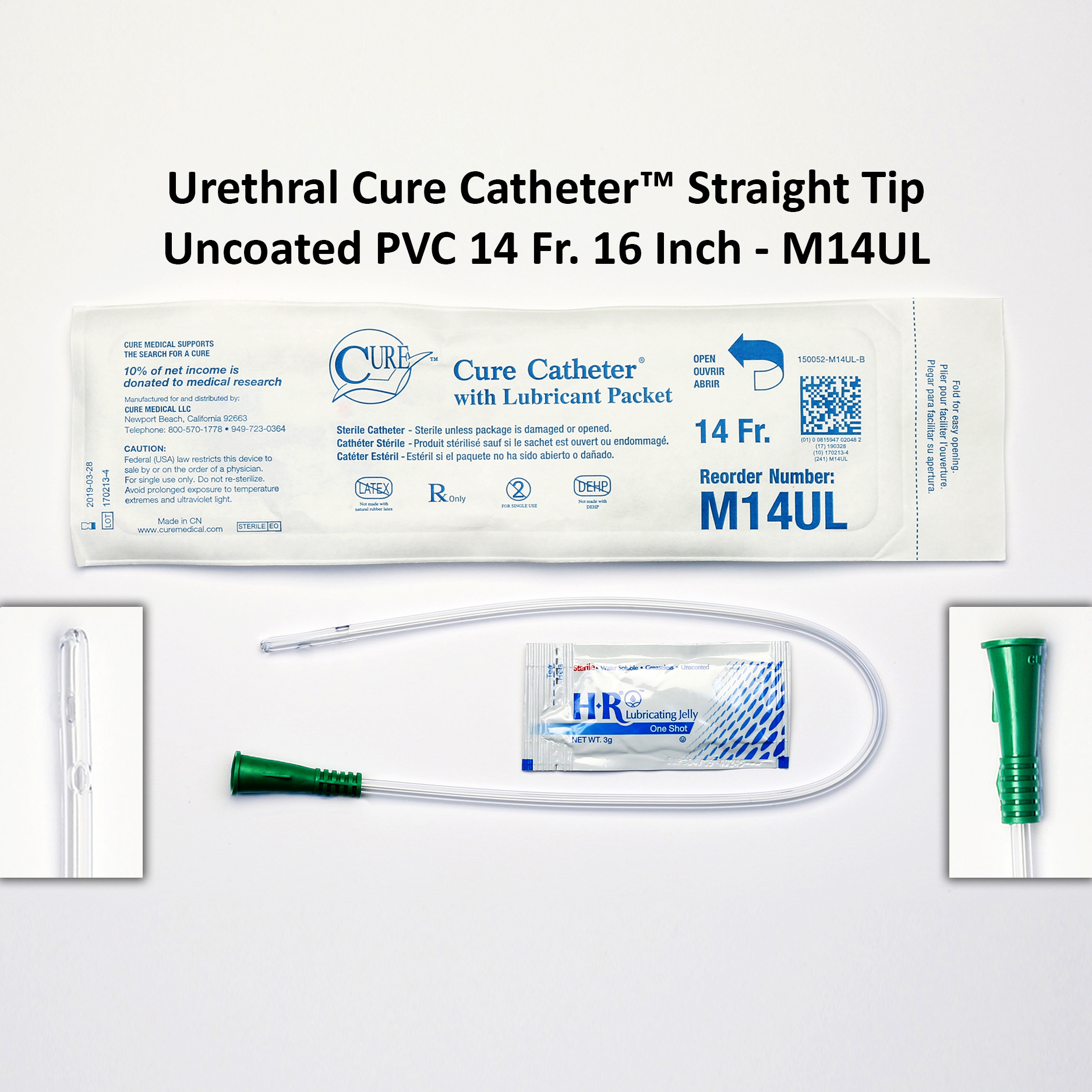 Urethral Cure Catheter™ Straight Tip Uncoated PVC 14 Fr. 16 Inch - M14UL