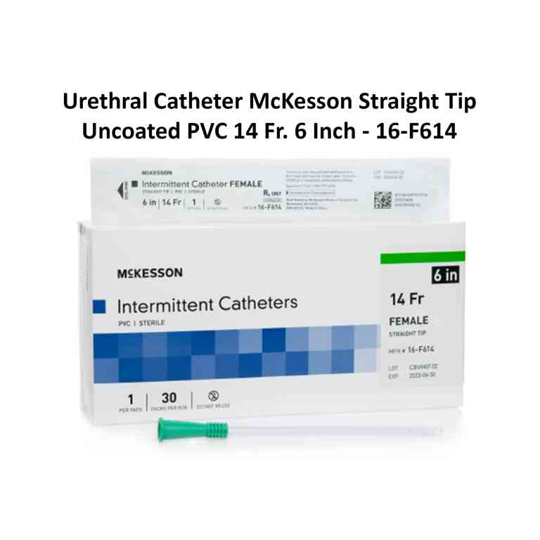 Urethral Catheter McKesson Straight Tip Uncoated PVC 14 Fr. 6 Inch - 16-F614