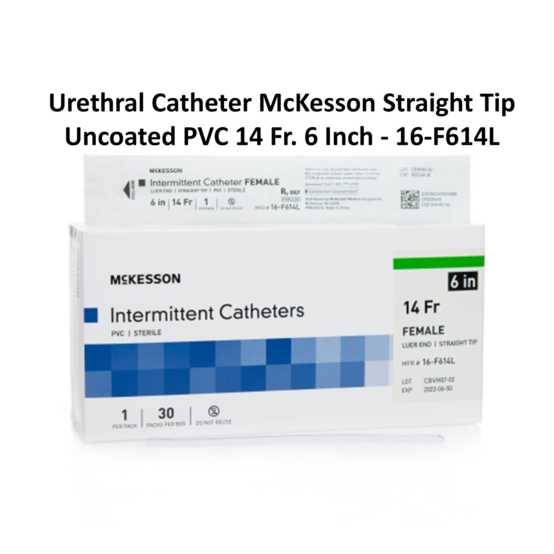 Urethral Catheter McKesson Straight Tip Uncoated PVC 14 Fr. 6 Inch - 16-F614L