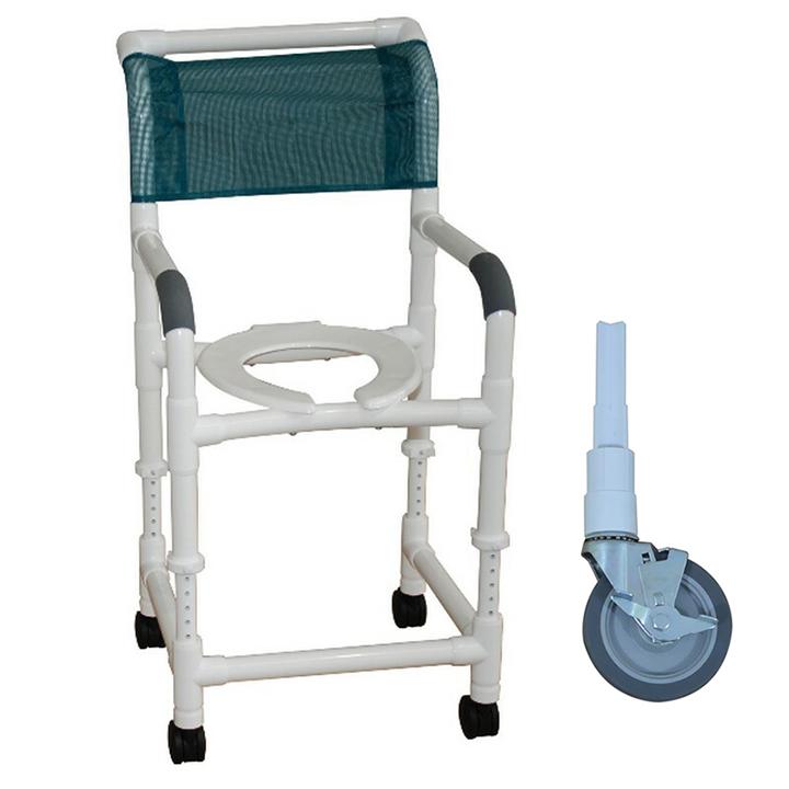 "MJM Adjustable Height Shower Chair 22""- 5"" Heavy Duty Casters - 122-5HD-ADJ"
