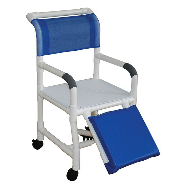 """MJM Wide shower chair 22"""" - flatstock seat w/drain holes & Below Knee Amputee 122-3TW-AF in Michigan USA"""