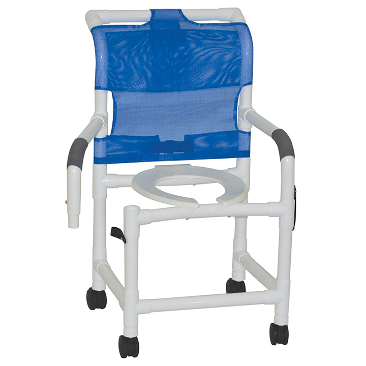 """MJM Wide Shower Chair 22"""" - Open Front Seat - Dual Swing Away Armrests - 122-3TW-DDA in Michigan USA"""