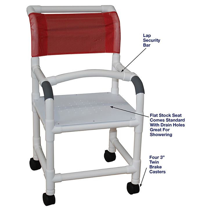 SHOWER CHAIR WITH FLAT STOCK SEAT AND LAP SECURITY BAR in Michigan USA