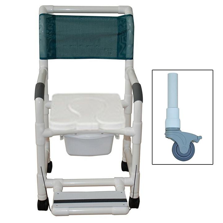 "MJM Shower chair 18"" soft seat dual usage - footrest & Commode pail - 118-3TL-SSDD-FF-SQ-PAIL"