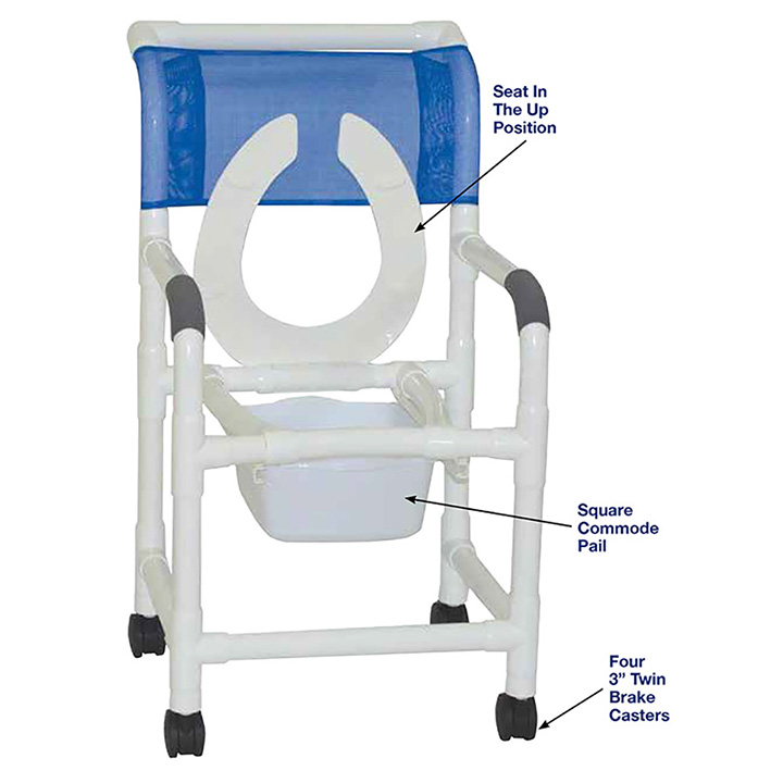 SUPERIOR SHOWER CHAIR W/FLIP FRONT SEAT AND SQUARE PAIL in Michigan USA
