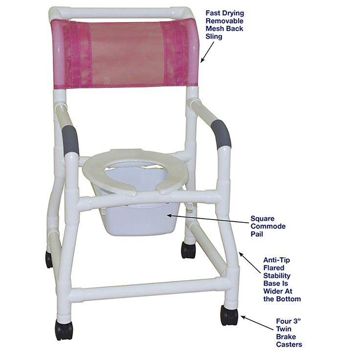 MJM ANTI-TIP FLARED STABILITY SHOWER CHAIR AND SQUARE PAIL in Michigan USA