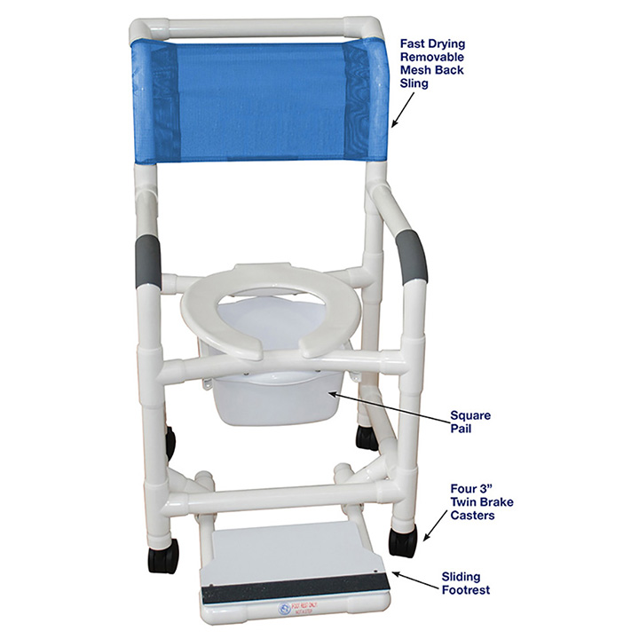 SUPERIOR SHOWER CHAIR W/SLIDING FOOTREST & SQUARE PAIL in Michigan USA