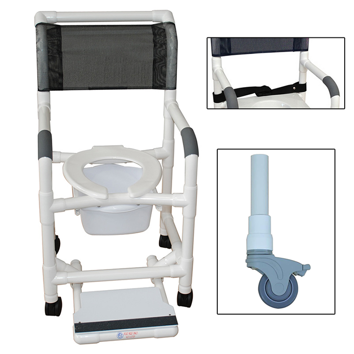 """MJM Shower chair 18"""" buckle safety belt- commode pail- slide out footrest - 118-3TL-BB-18-SQ-PAIL-SF"""