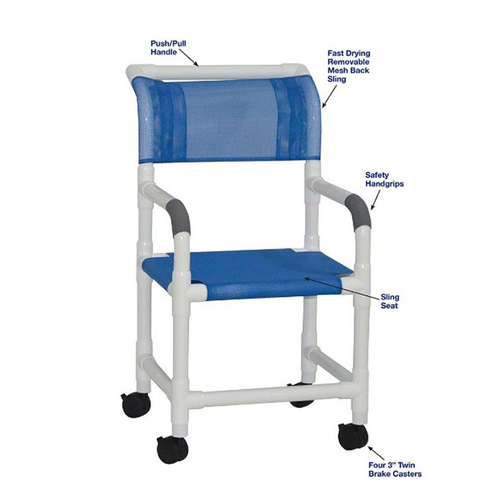 """MJM Wide Shower Chair w/Sling Seat 22"""" - 3"""" Twin Casters - 122-3-SL in Michigan USA"""