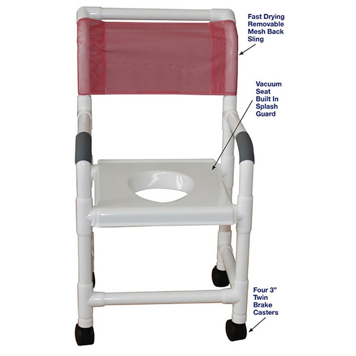 """MJM Wide Shower Chair 22"""" - Full Support Snap On Seat - 122-3TW-VS"""