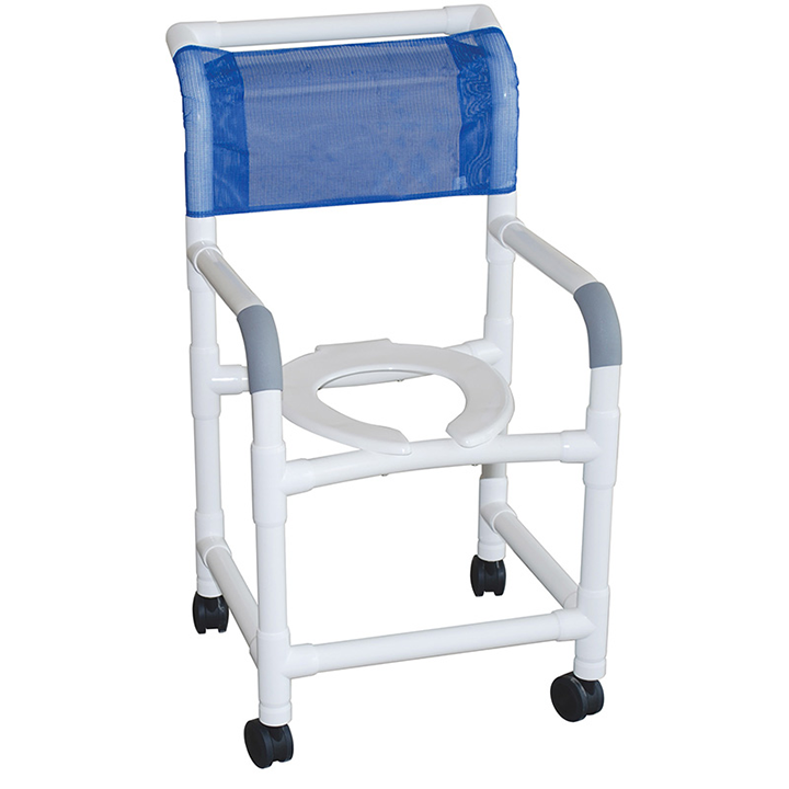 """MJM Shower chair 18""""- open front seat- 3"""" twin ALL BRAKE casters - 118-3TWB"""