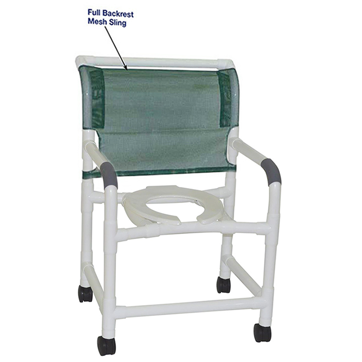 """MJM Wide shower chair 22"""" - open front seat - full mesh back - 122-3TW-FB in Michigan USA"""