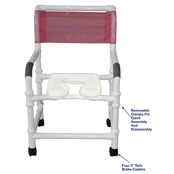 """MJM Knocked Down Wide shower chair 22"""" - deluxe elongated open front soft seat - 122-3TW-KD-SSDE"""