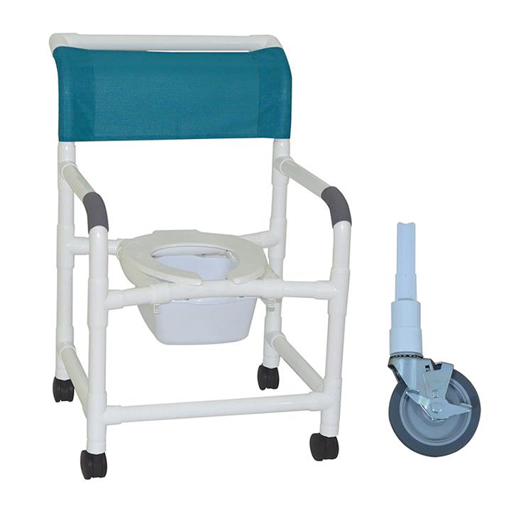 """MJM Wide shower chair 22""""- commode pail- 5"""" heavy duty casters - 122-5HD-10-QT-C"""