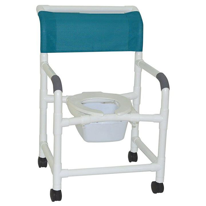 "MJM Wide shower chair 22"" internal width- open front seat- 3"" twin casters- Square Pail 122-3TW-10-QT-C"