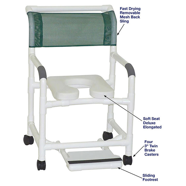 MJM MID-SIZE SHOWER CHAIR WITH SOFT SEAT DELUXE ELONGATED AND SLIDING FOOTREST in Michigan USA