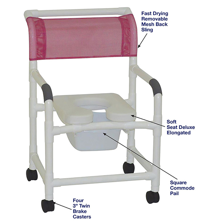 MJM MID-SIZE SHOWER CHAIR WITH SOFT SEAT DELUXE ELONGATED AND SQUARE PAIL in Michigan USA