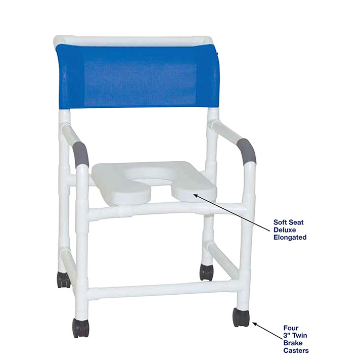 """MJM Wide shower chair 22"""" - deluxe elongated open front soft seat - 122-3TW-SSDE"""