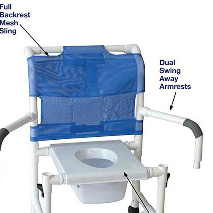 """MJM Wide shower chair 22"""" internal width- 3"""" TOTAL LOCK casters- adj. height- slide out footrest- dual drop arms- deluxe open front soft seat & Square Pail"""