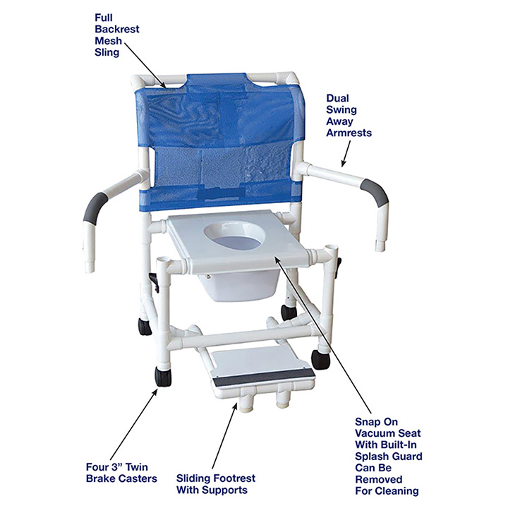 MJM MID-SIZE SHOWER CHAIR WITH VACUUM SEAT SLIDING FOOTREST AND DUAL SWING AWAY ARMRESTS in Michigan USA