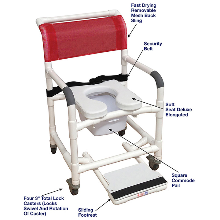 MJM International Wide Shower Chair with Total Lock Casters, Soft Seat, Safety Belt, Commode Pail and Slide Out Footrest in Michigan USA