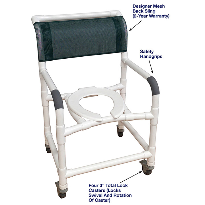 MJM MID-SIZE SHOWER CHAIR WITH TOTAL LOCK CASTERS-122-3TL in Michigan USA
