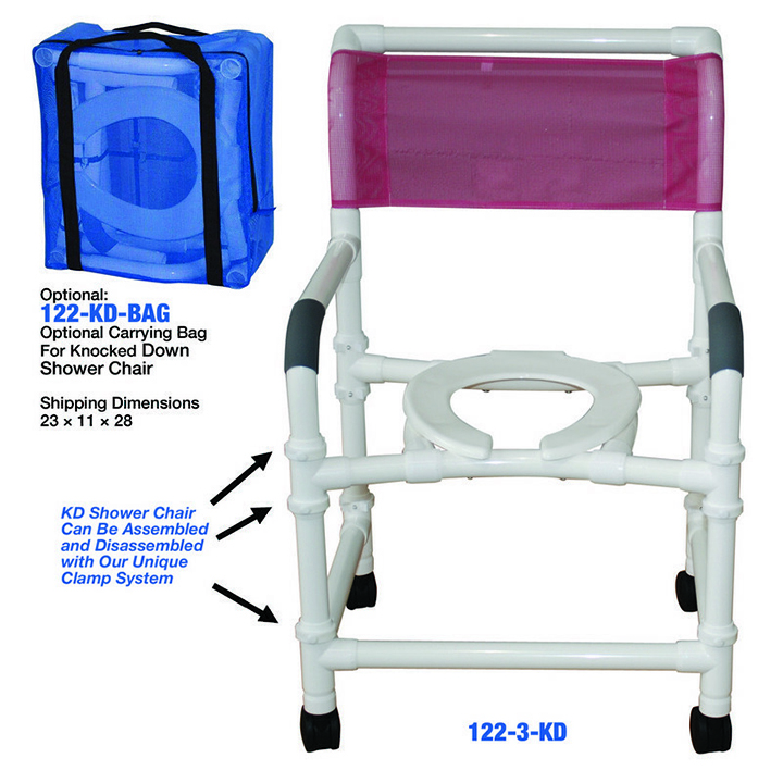 """MJM Knocked Down Wide shower chair 22"""" - open front seat - W/carrying bag - 122-3TW-KD-BAG in Michigan USA"""