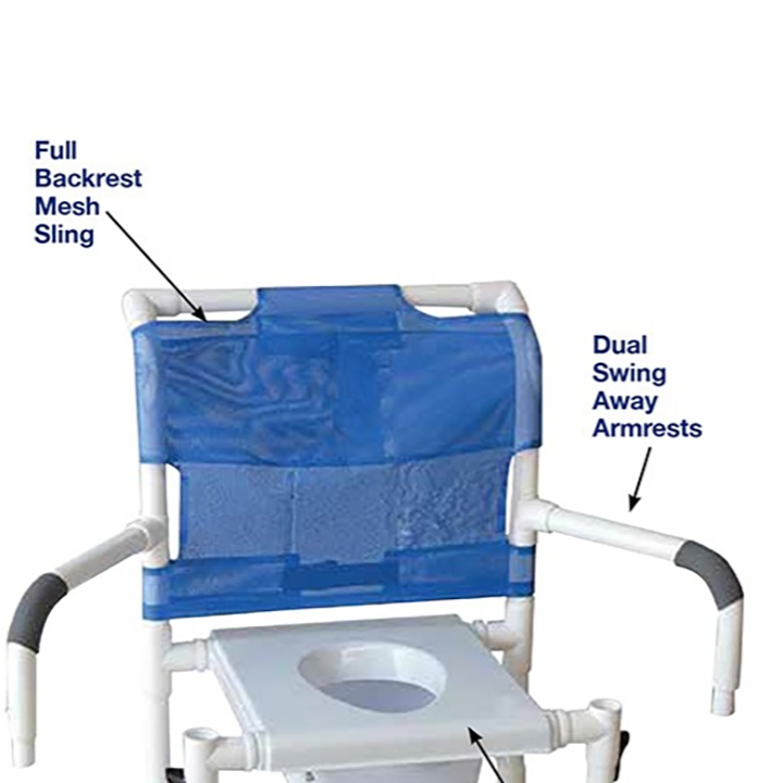 """MJM Wide shower chair 22""""- 5""""TOTAL LOCK casters - double drop arms and commode pail - 122-5TL-SQ-PAIL-DDA-SSDE"""