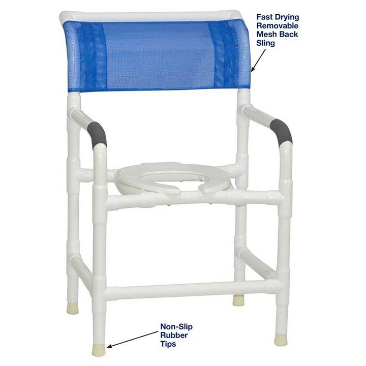 "MJM Wide shower chair 22"" intl. width - open front seat - 122-LP"