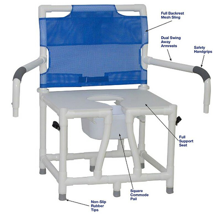 """MJM Bariatric Bedside Commode Chair 24""""- Full Support Mesh Back - Dual Swing Away Armrests - 124-C10-DDA"""