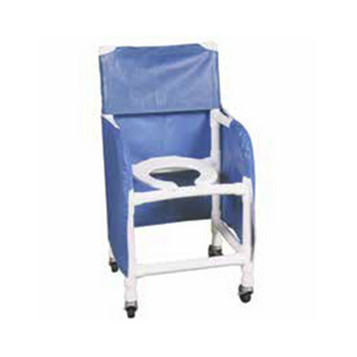 """MJM Shower chair 18"""" with folding footrest - privacy skirt & commode pail - 118-3TW-FF-PS-18-10-QT-C"""